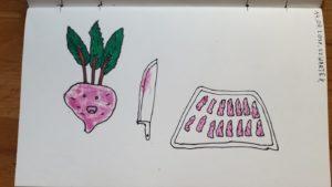 Robiłem frytki z buraków. Ciekawostka - kolor uzyskałem przykładając kawałek frytki z buraka do papieru.