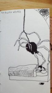 Mam lęk przed pająkami. Nawet rysując je odczuwam wielki niepokój. Ale też to bardzo pomaga oswoić lęk. Na tym obrazku pająk poprawia mi kołdrę, gdy śpię.